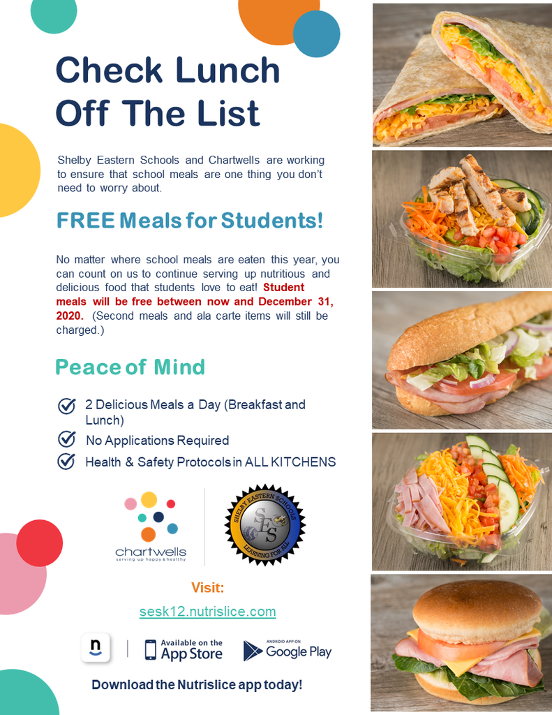 Check Lunch Off the List - Free Meals for student flyer