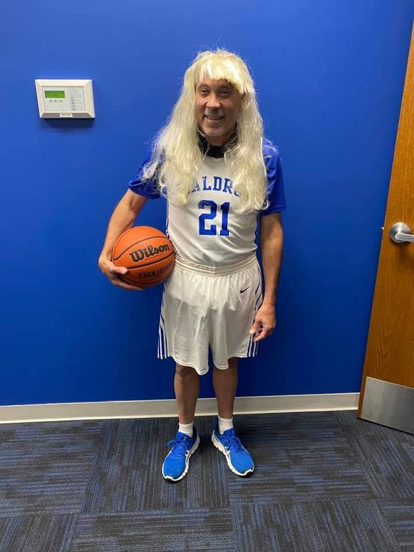 Adult dressed up as a basketball player for Halloween